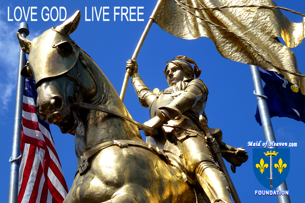Joan of Arc Statue with American Flag